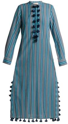 Figue Paolina Striped Tassel Trimmed Dress - Womens - Blue Stripe