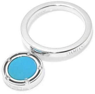 Damiani 18K White Gold with Turquoise & Diamond Ring Size 5.5