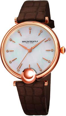Bruno Magli 34mm Miranda Crocodile Watch, Brown/Gold