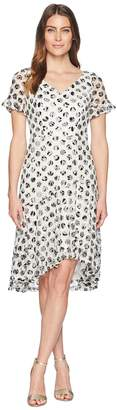 Sangria Polka Dot Short Sleeve Lace Dress Women's Dress
