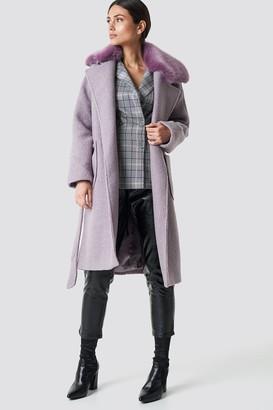 Na Kd Trend Big Faux Fur Collar Coat Dusty Purple