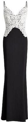 Ralph Lauren Lauren Lace-Overlay Jersey Gown $260 thestylecure.com
