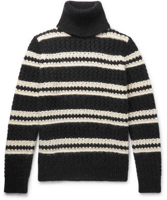 Saint Laurent Oversized Striped Wool-Blend Rollneck Sweater