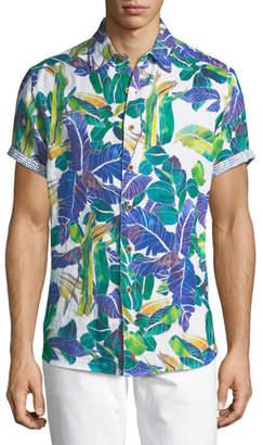 Robert Graham Dandus Short-Sleeve Linen Shirt
