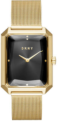 DKNY Women's Cityspire Gold-Tone Stainless Steel Mesh Bracelet Watch 27x34mm, Created for Macy's