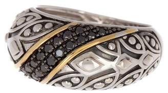 Effy Sterling Silver & 18K Gold Black Diamond Ring - 0.31 ctw - Size 7