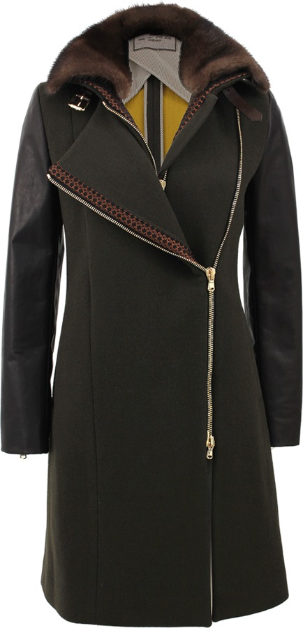 Etro Leather Sleeve Coat with Detachable Fur