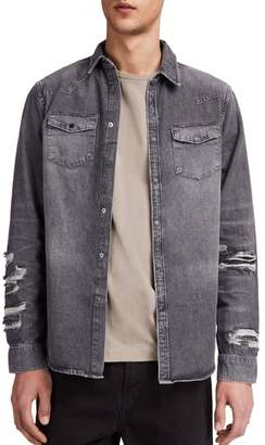 AllSaints Beegan Distressed Denim Shirt Jacket