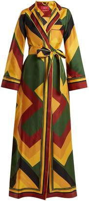 Roda F.R.S - FOR RESTLESS SLEEPERS colour-block silk wrap dress
