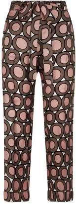Max Mara Silk Cropped Circle Pattern Trousers