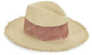 Rag & Bone Rag& Bone Women's Frayed Panama Straw Hat - Black Cobalt - Size Small/Medium