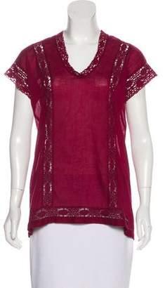 Etoile Isabel Marant Crochet-Trimmed V-Neck Top