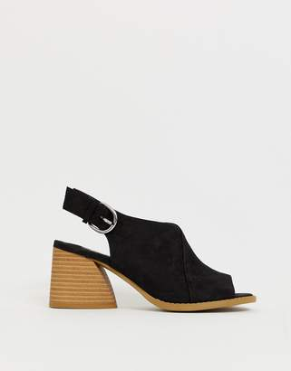 f3c8df33e624 Faith Dani black casual block heeled sling back sandals