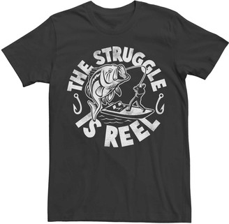 Licensed Character Men's The Struggle Is Reel Fishing Humor Graphic Tee