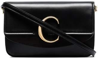 Chloé black C ring leather wristlet