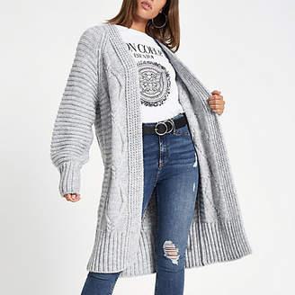 River Island Grey cable knit longline maxi cardigan