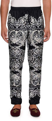 Dolce & Gabbana Men's Lace Print Silk Pajama Pants
