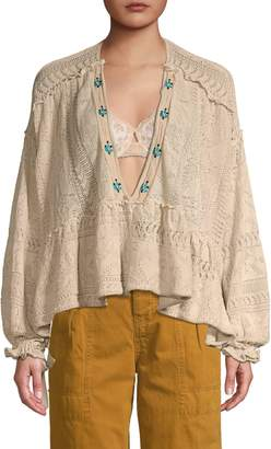 Free People Plunging V-Neck Cotton-Blend Sweater