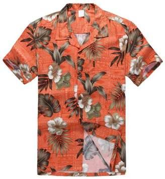 Hawaii Hangover Hawaiian Shirt Aloha Shirt in Orange Hibiscus Leaf