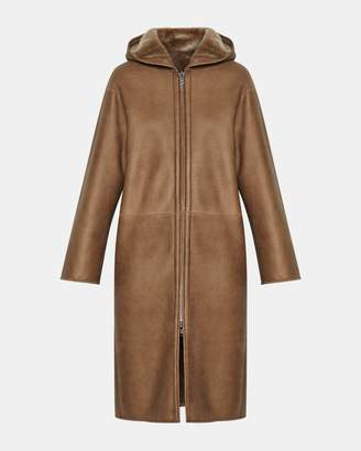 Theory Silky Shearling Hooded Coat