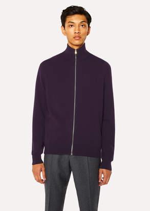 Paul Smith Men's Violet Cashmere Zip-Through Cardigan