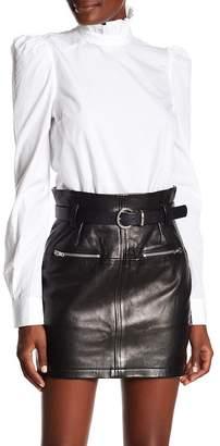 Frame Ruffle Neck Poplin Shirt