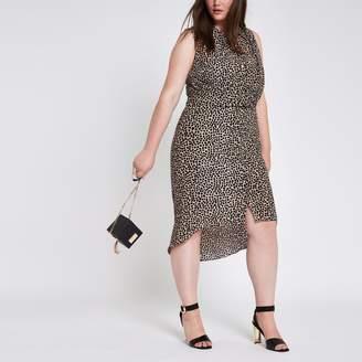 River Island Womens Plus leopard print twist front shirt dress