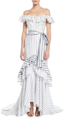 Alexis Madelia Striped Ruffle High-Low Gown