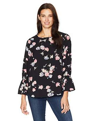 Chaus Women's Smocked Sleeve Graceful Blooms Blouse