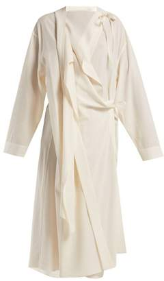 Lemaire Wool Crepe Asymmetric Dress - Womens - White