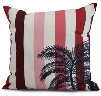 Simply Daisy, 20 x 20 Inch, Thin Stripe Palm, Stripe Print Pillow, Red