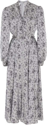 Co Necktie Belted Floral Silk-Charmeuse Midi Dress