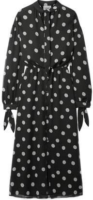 Nanushka - Zahara Pussy-bow Polka-dot Crinkled-chiffon Midi Dress - Black