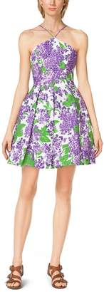 Michael Kors Lilac-Print Cotton Halter Dress