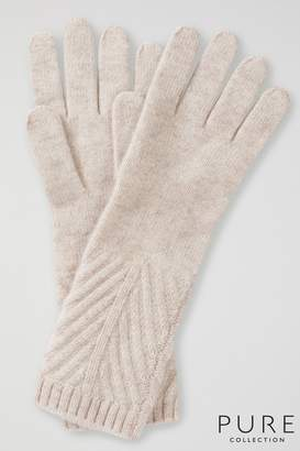 Womens Pure Collection Natural Cashmere Ribbed Gloves - Natural