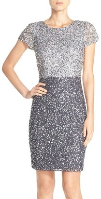 Adrianna Papell Sequin Colorblock Sheath Dress $199 thestylecure.com