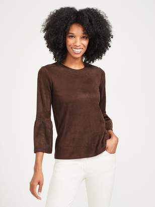 Keaton Faux Suede Bell Sleeve Top