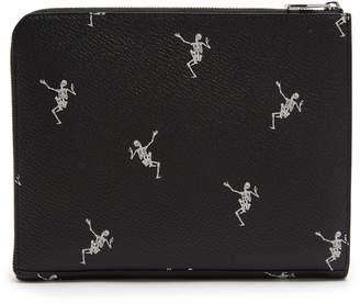 Alexander McQueen Skeleton-print zip-around leather pouch