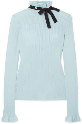 RED Valentino Grosgrain-trimmed Wool Sweater - Sky blue