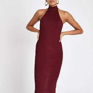 River Island Womens Dark Red halter neck cutaway bodycon dress