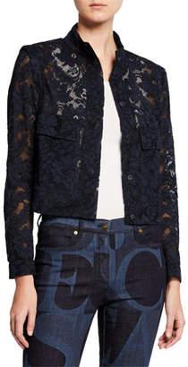 Escada Cropped Bow-Neck Lace Jacket