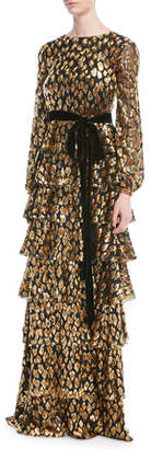 Valentino Long-Sleeve Tiered Velvet Animalier Gown w/ Belt