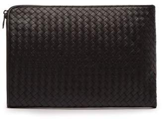 Bottega Veneta Intrecciato Leather Document Holder - Mens - Black