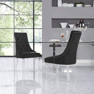 Asstd National Brand Inspired Home Set of 2 Winona Velvet Acrylic Leg Armless Dining Chairs