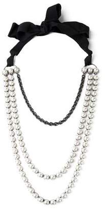 Lanvin Silver-Tone Faux Pearl Crystal And Grosgrain Necklace