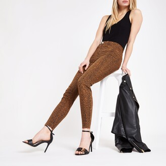 River Island Womens Brown Molly snake print jeggings