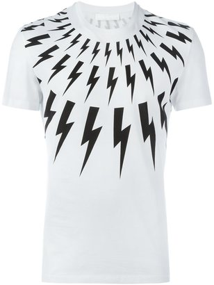 Neil Barrett lightning bolt print T-shirt $221.01 thestylecure.com