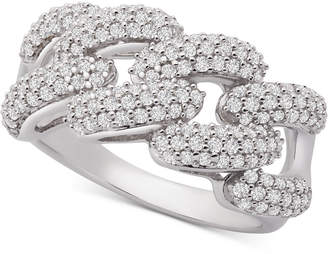 Wrapped in Love Diamond Link Detail Statement Ring (1 ct. t.w.) in Sterling Silver