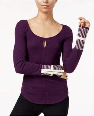 Free People Mod Striped-Cuff Top $68 thestylecure.com