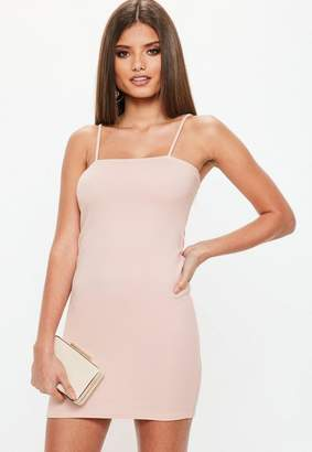 Missguided Pink Square Neck Bodycon Dress, Pink